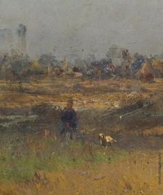 Похитонов И. П. Стога в пейзаж с охотником