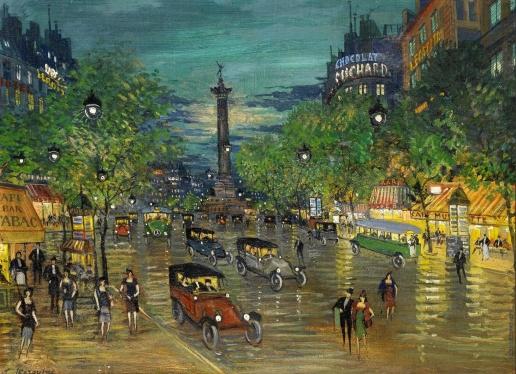 Коровин К. А. Парижский бульвар ночью