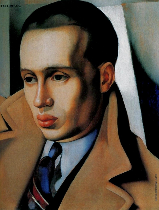 Лемпицка Т. Б. Портрет мужчины в пальто с поднятым воротником