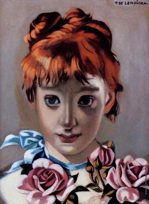Лемпицка Т. Б. Рыжеволосая девочка с розами