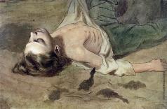 Перов В. Г. Этюд лежащего мальчика к картине «Суд Пугачева»