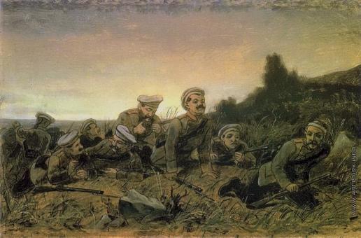 Перов В. Г. Пластуны под Севастополем. (Эскиз)