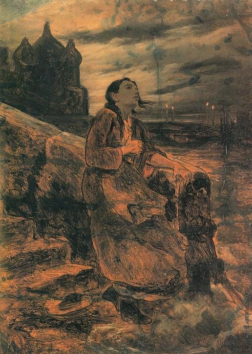 Перов В. Г. Девушка, бросающаяся в воду. (Эскиз)