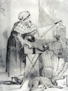 Перов В. Г. Парижская шарманщица. (Эскиз)