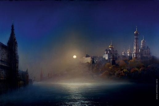 Бочаров С. П. Лунная ночь в Москве во время половодья