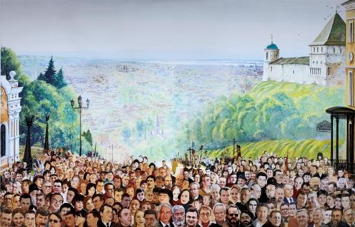 Бочаров С. П. Роспись плафона в Тобольске. «Вид на древний Тобольск  в XXI веке»