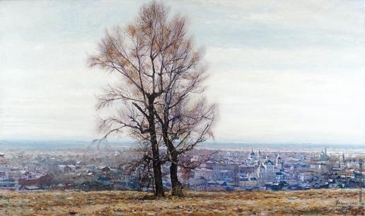 Бочаров С. П. Два дерева. Вид на Подгорный город древнего Тобольска