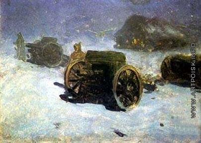 Греков М. Б. Пушки на снегу в лунную ночь