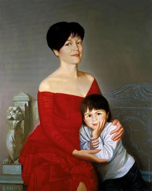 Бочаров С. П. Лариса и сын Иван в Итальянском дворике в Ливадии