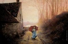 Бочаров С. П. Осень в пригороде Парижа. Красный зонтик