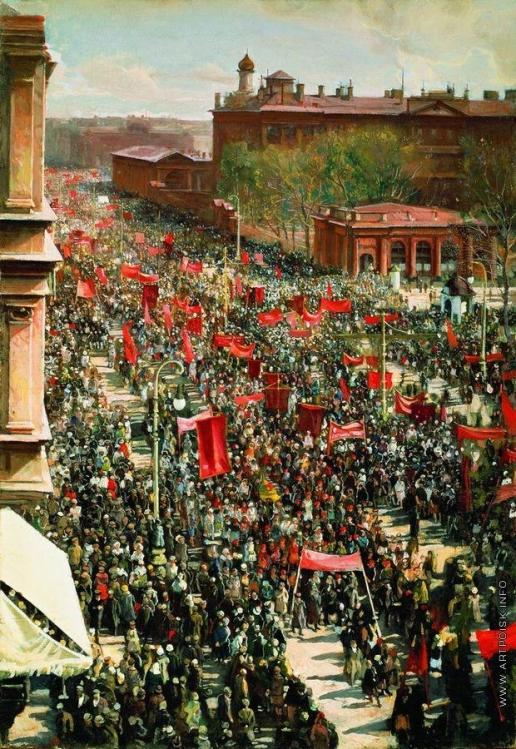 Бродский И. И. Первомайская демонстрация на проспекте 25 октября