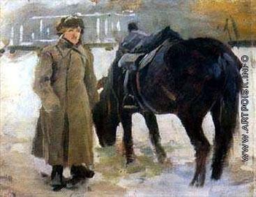 Греков М. Б. Натурщик с оседланной лошадью. Этюд