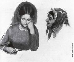 Федотов П. А. Девушка. Голова сводницы
