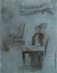 Федотов П. А. Игрок, сидящий за столом. Стул. Мужские ноги