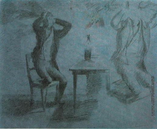 Федотов П. А. Игрок, сжимающий голову руками