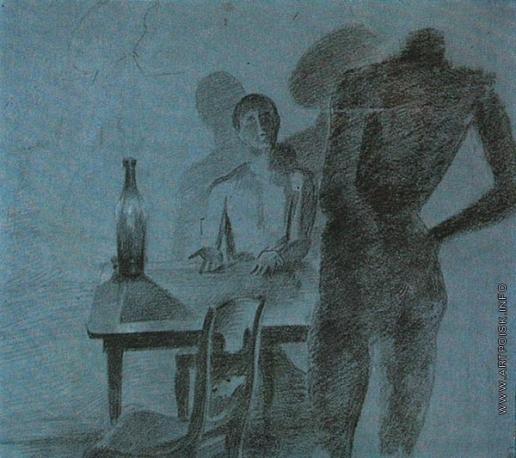 Федотов П. А. Игрок, сидящий за столом. Игрок разминающий поясницу