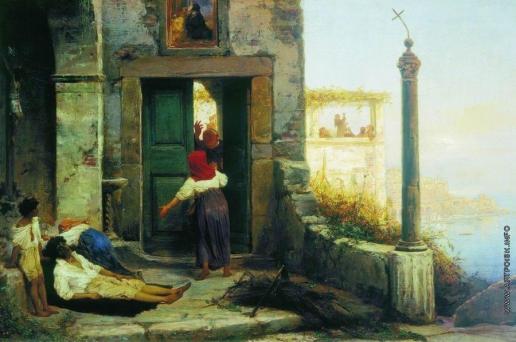 Бронников Ф. А. Больной у стен католического монастыря