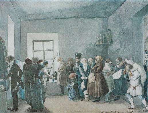 Федотов П. А. Передняя частного пристава накануне большого праздника