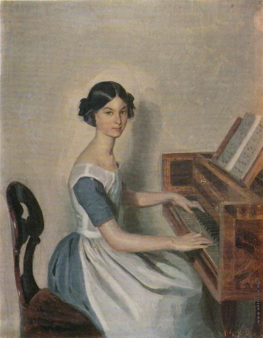 Федотов П. А. Портрет Н.П. Жданович за клавесином
