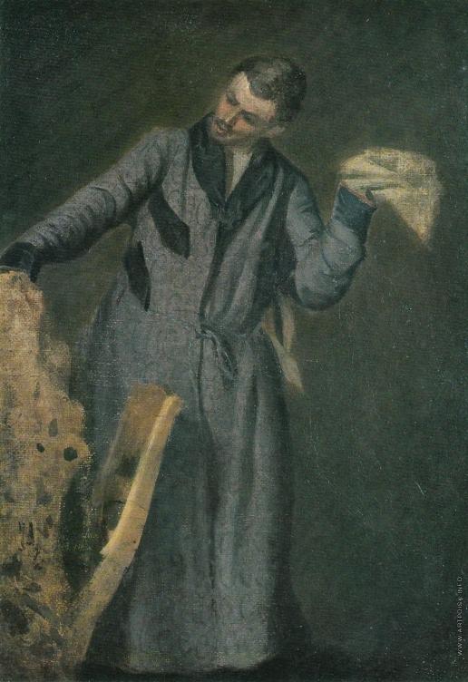 Федотов П. А. Молодой челове, играющий с собакой. Этюд для неосуществленной картины «Офицерская казарменная жизнь»