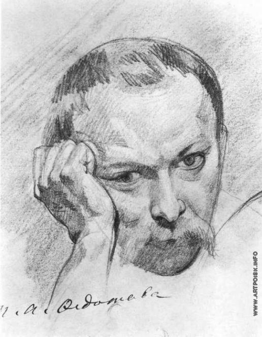Федотов П. А. Автопортрет (фрагмент листа с портретными набросками)