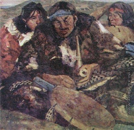 Васильев А. А. Чукотский шаман с женами