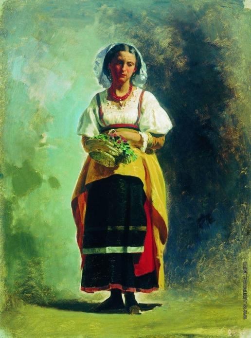 Бронников Ф. А. Итальянка с корзиной цветов