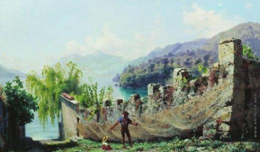 Бронников Ф. А. Итальянский вид. Рыбак, развешивающий сети