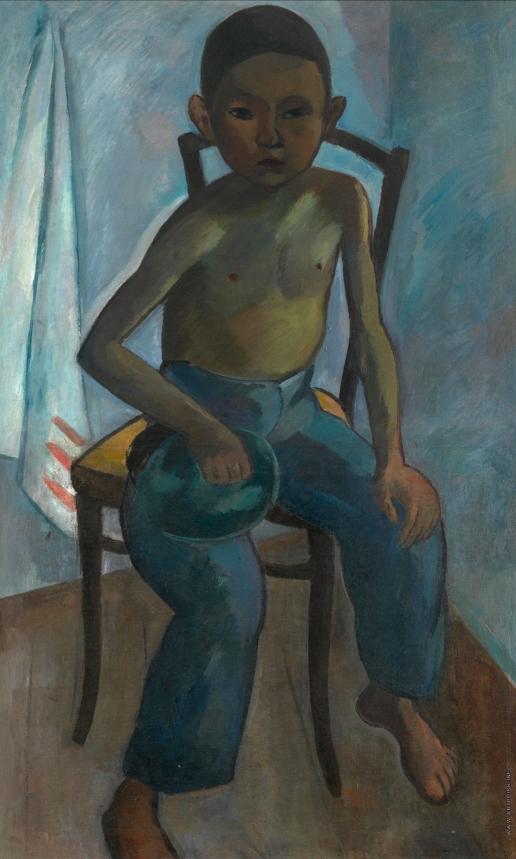 Фальк Р. Р. Мальчик с кошкой, сидящий на стуле