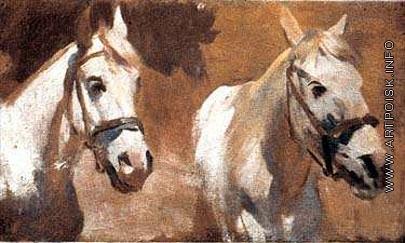 Греков М. Б. Головы белых лошадей. Этюд