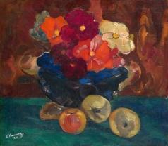 Анисфельд Б. И. Натюрморт с цветами и яблоками