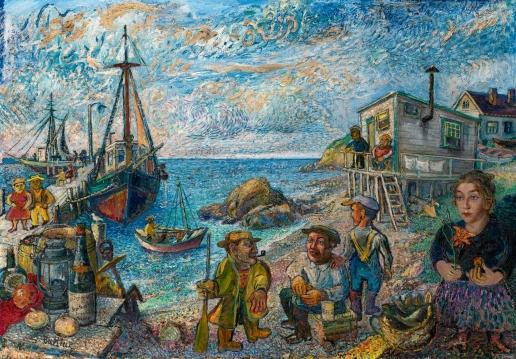 Бурлюк Д. Д. Рыбак и жена художника на берегу Лонг-Айленда