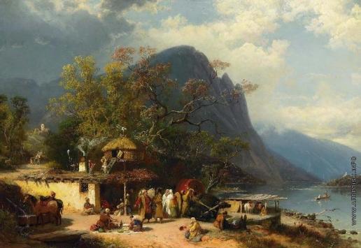 Франкен П. На Кавказе. Перед таверной на берегу реки