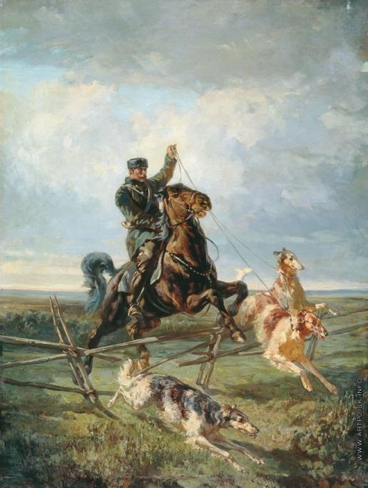 Френц Р. Ф. Егерь с тремя борзыми