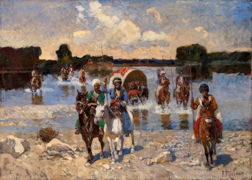 Рубо Ф. А. Черкесские всадники переходят реку