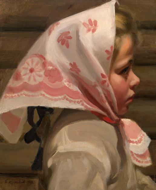 Кустодиев Б. М. Портрет девочки в шарфе