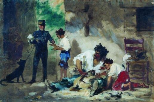 Бронников Ф. А. Стрижка собак в Неаполе