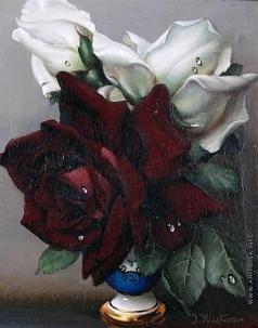 Клестова И. Натюрморт с красной и белой розами