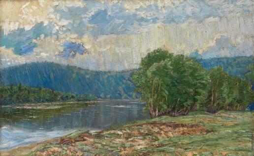 Бурлюк Д. Д. Горный пейзаж с рекой