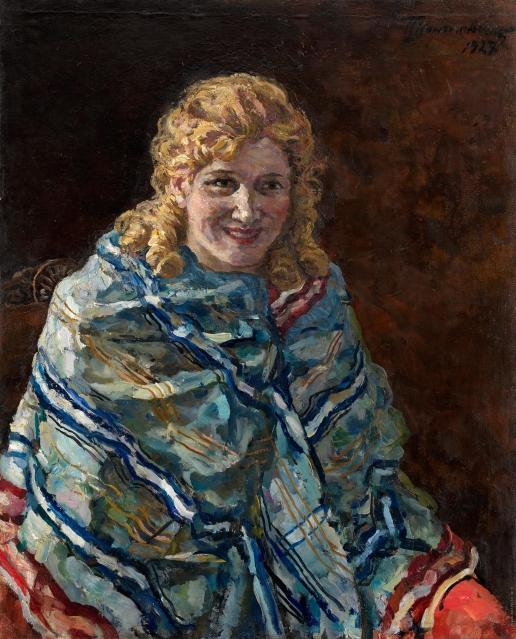 Кончаловский П. П. Портрет Анны Кондратьевны Рейхштадт в голубой шали