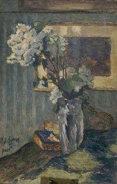Нилус П. А. Белые цветы в стеклянной вазе. Натюрморт