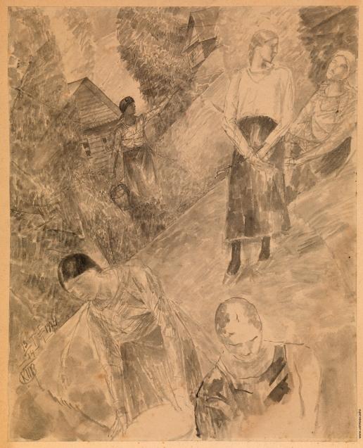 Петров-Водкин К. С. Деревенская сцена с пятью женскими фигурами