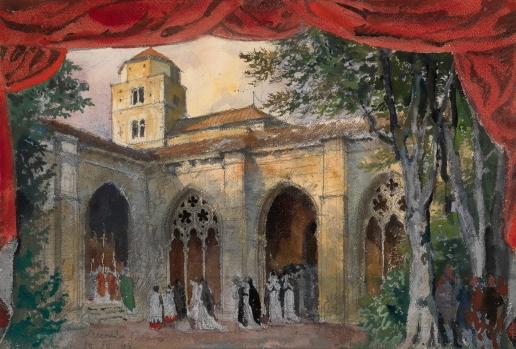 Бенуа А. Н. Эскиз декорации для четвертого акта оперы «Трубадур»
