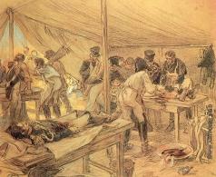 Апсит А. П. Ссанитарная палатка на бородинском поле. Иллюстрация к роману Л.Н. Толстого «Война и мир»