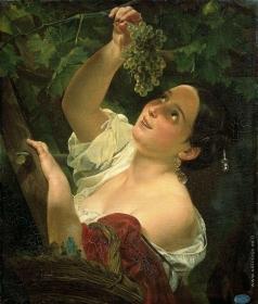 Брюллов К. П. Итальянский полдень (Итальянка, снимающая виноград)