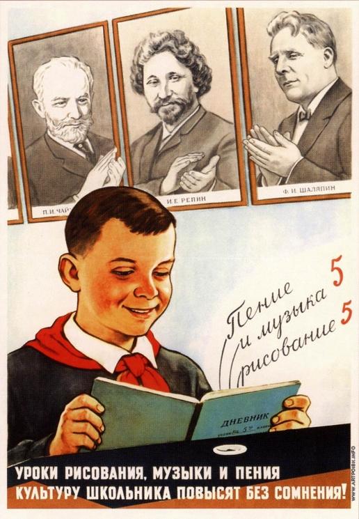 Говорков В. И. Плакат «Уроки рисования, музыки и пения...»