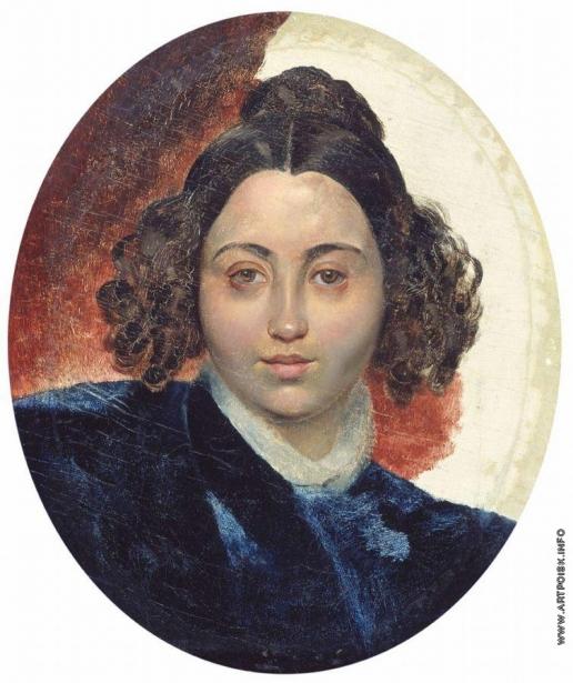 Брюллов К. П. Портрет баронессы И.И.Клодт, жены скульптора П.К.Клодта. Около