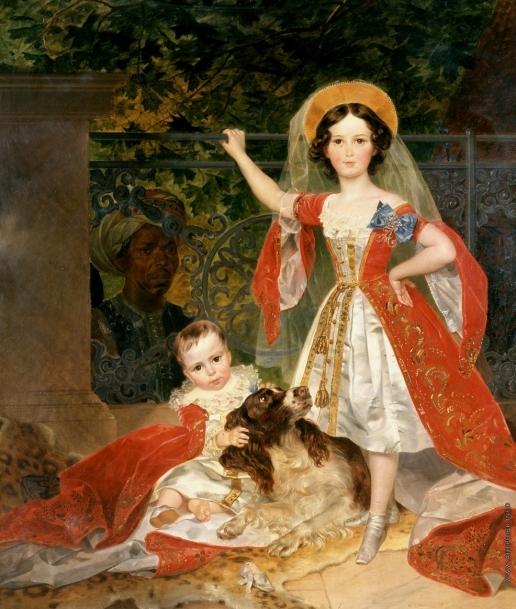 Брюллов К. П. Портрет детей Волконских с арапом