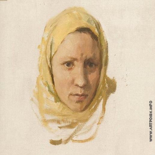 Серов В. А. Этюд женской головы к картине «Ждут сигнала! (Перед штурмом)»