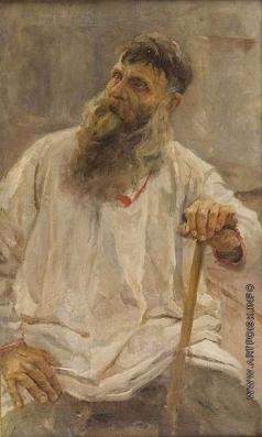 Серов В. А. Сидящий старик с посохом. Этюд к картине «Степан Разин»